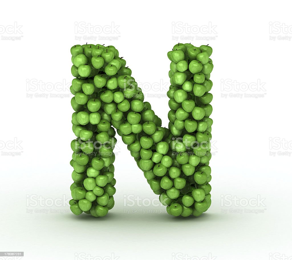 Letter N, alphabet of green apples royalty-free stock photo