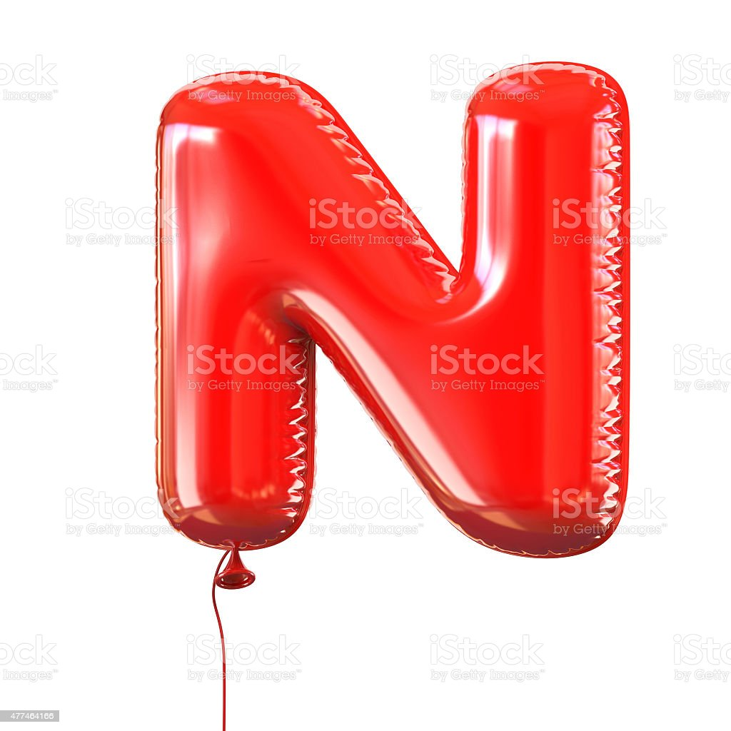Letter N balloon font stock photo