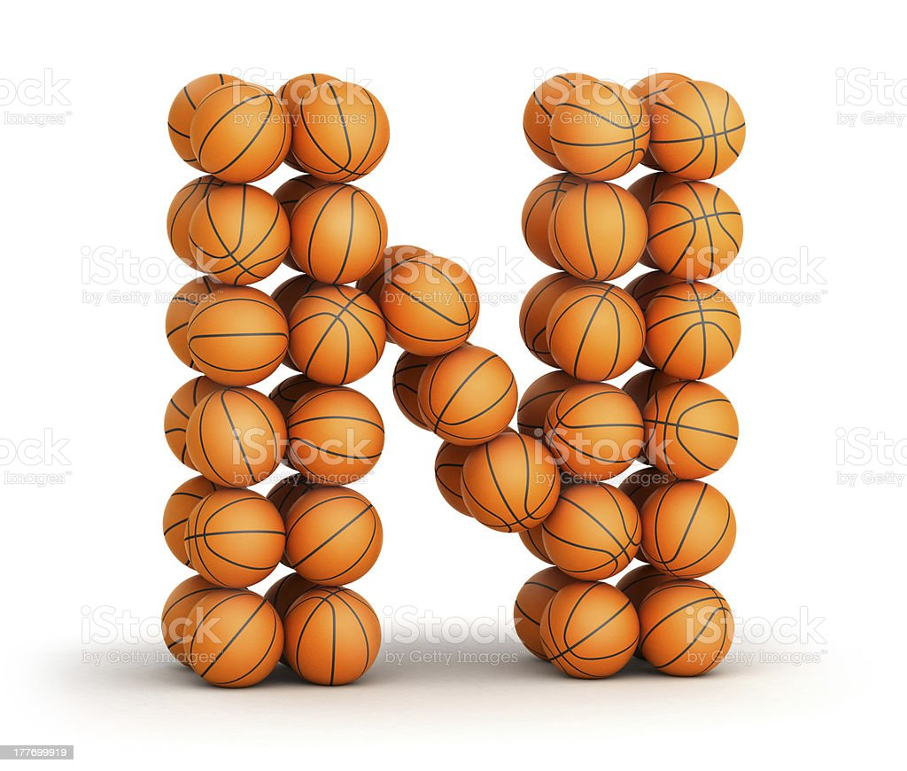 Letter N   basketball royalty-free stock photo