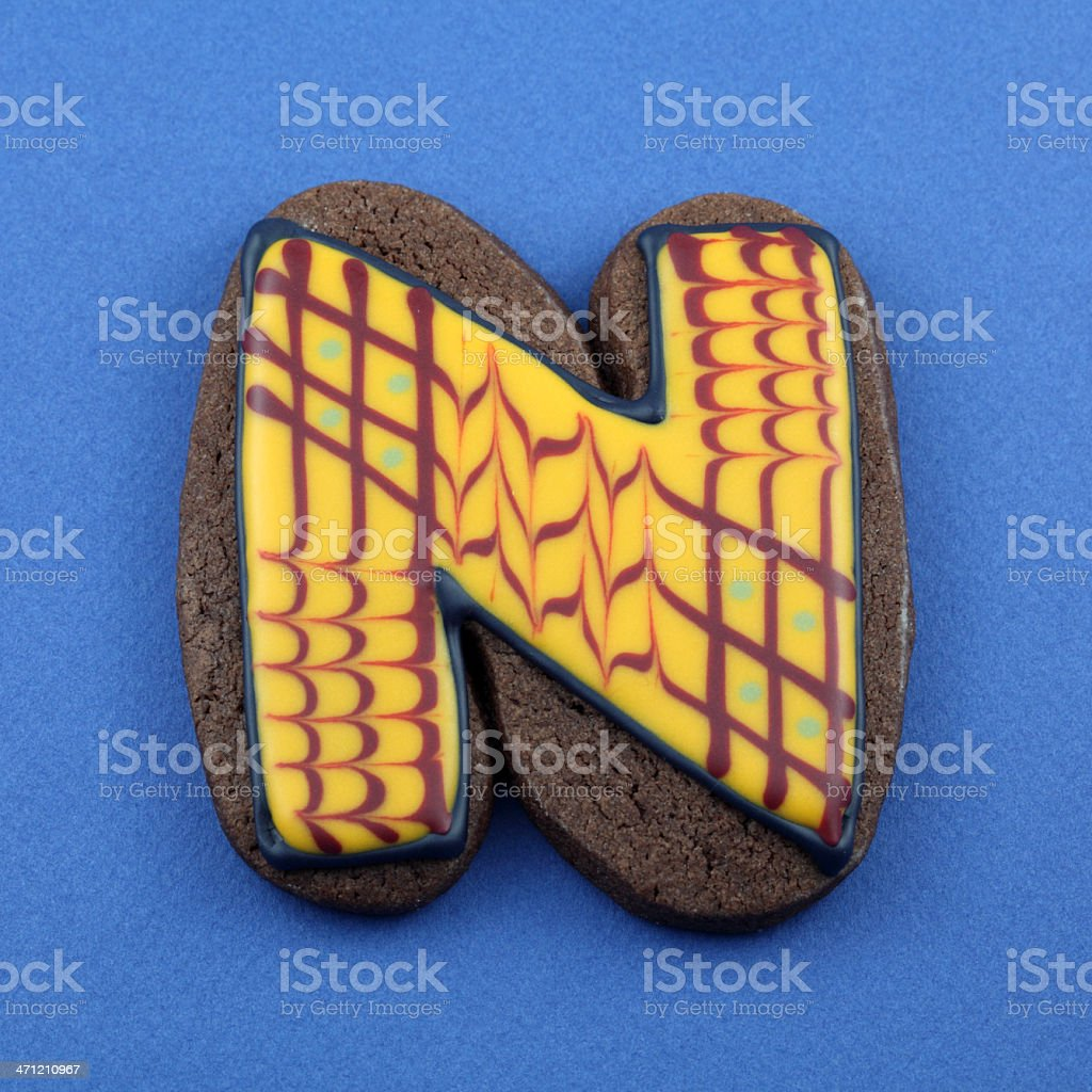 Letter N Cookie royalty-free stock photo