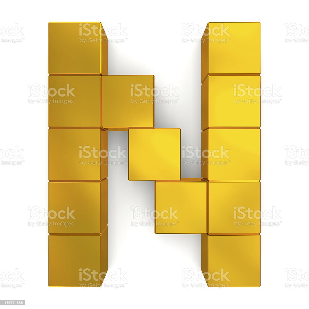 letter N cubic golden royalty-free stock photo