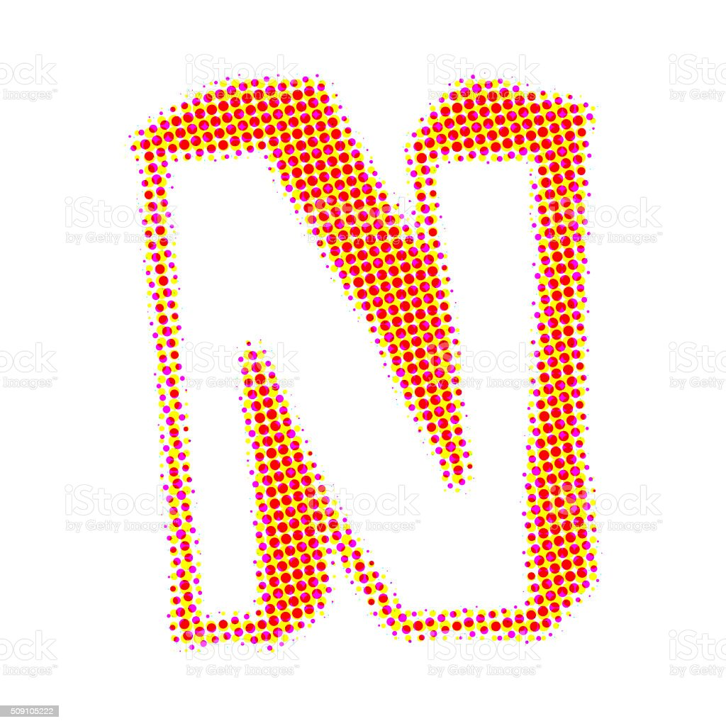 Letter N from points with shadows stock photo