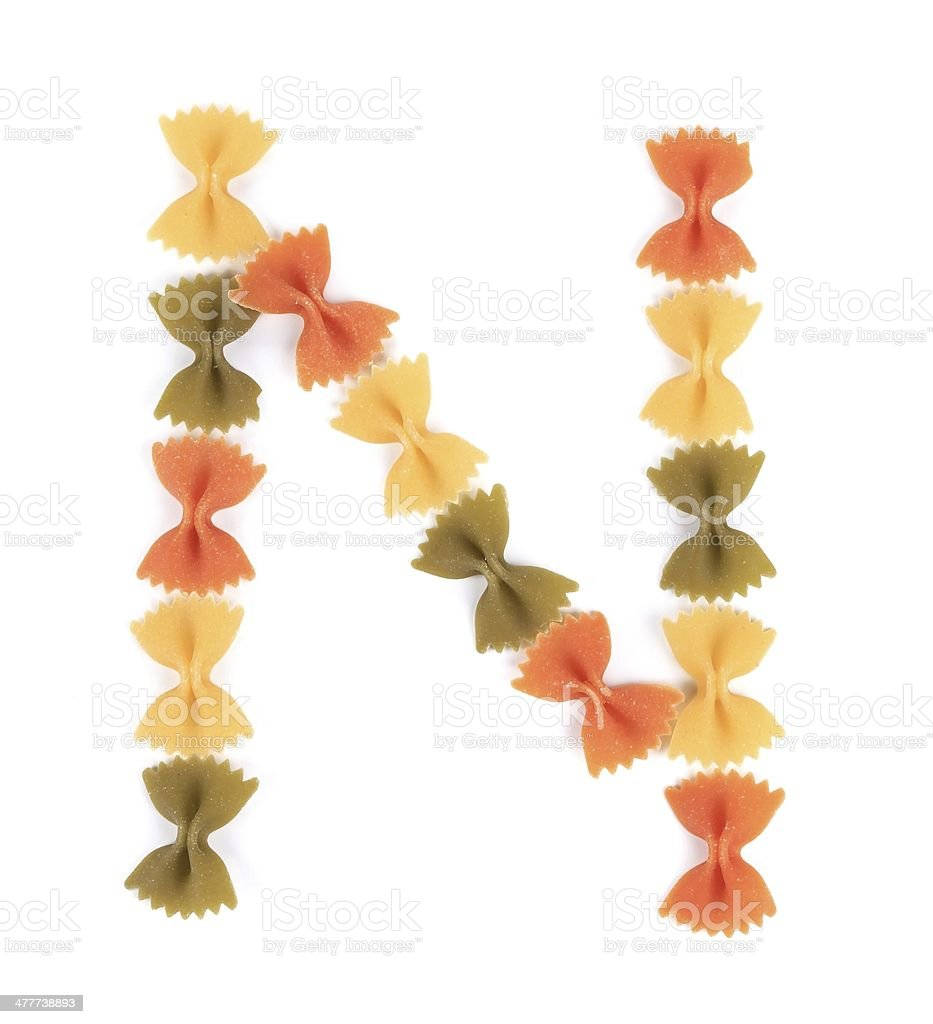 Letter N from the colorful pasta. stock photo