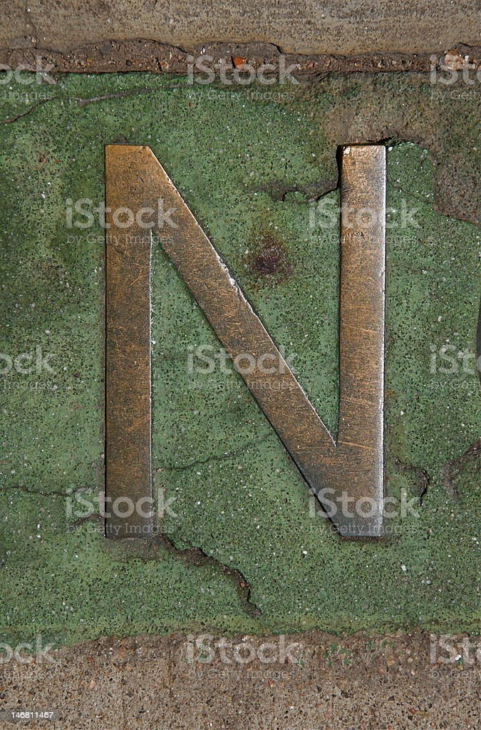 Letter N in Metal and Cement royalty-free stock photo