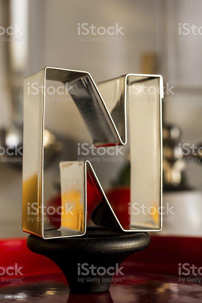 Letter N kitchen alphabet stock photo