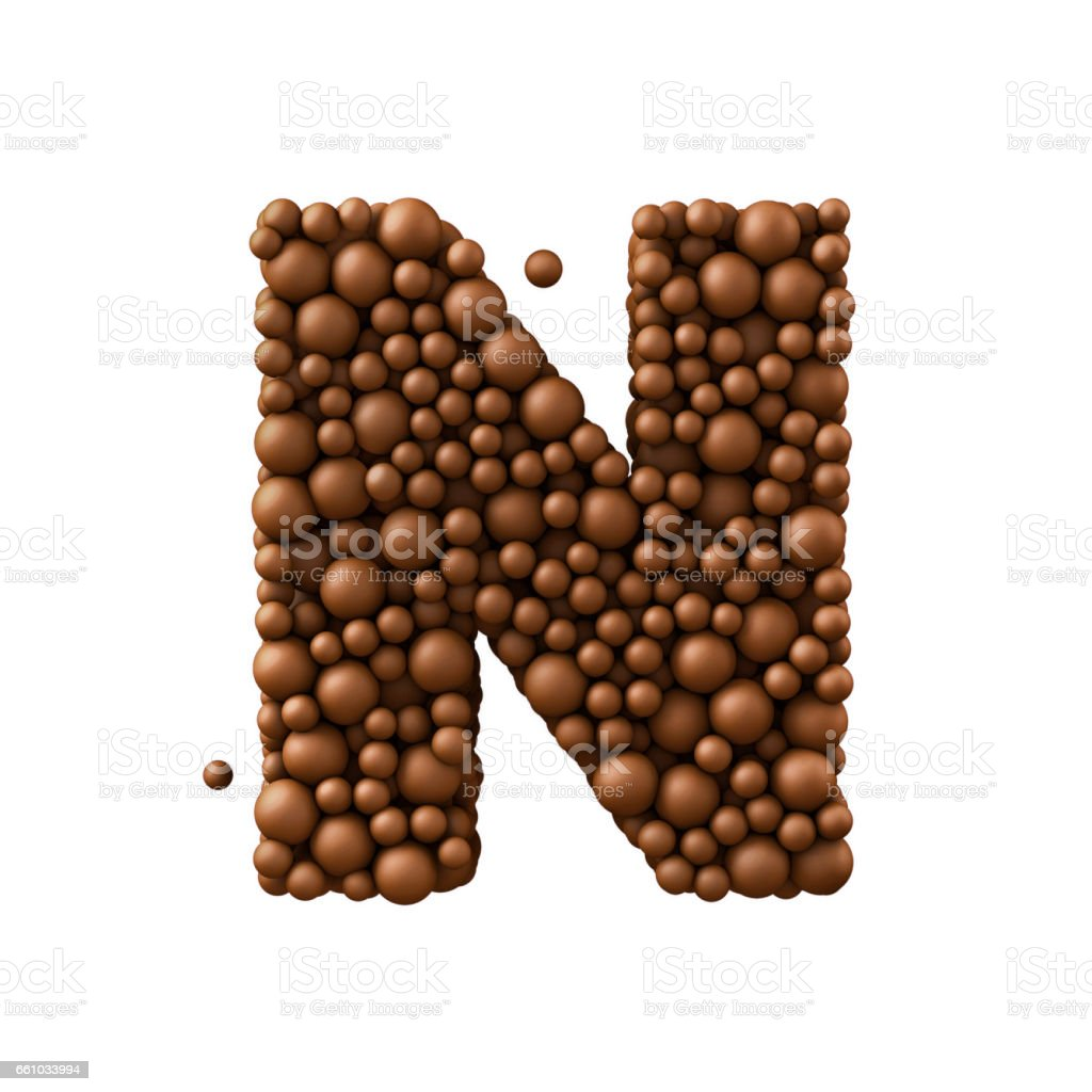 Letter N made of chocolate bubbles, milk chocolate concept, 3d render stock photo