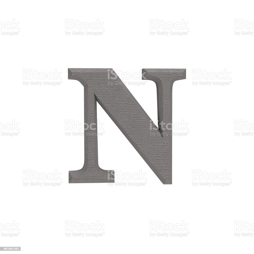 Letter N made of cloth, tissue texture, 3d illustration stock photo