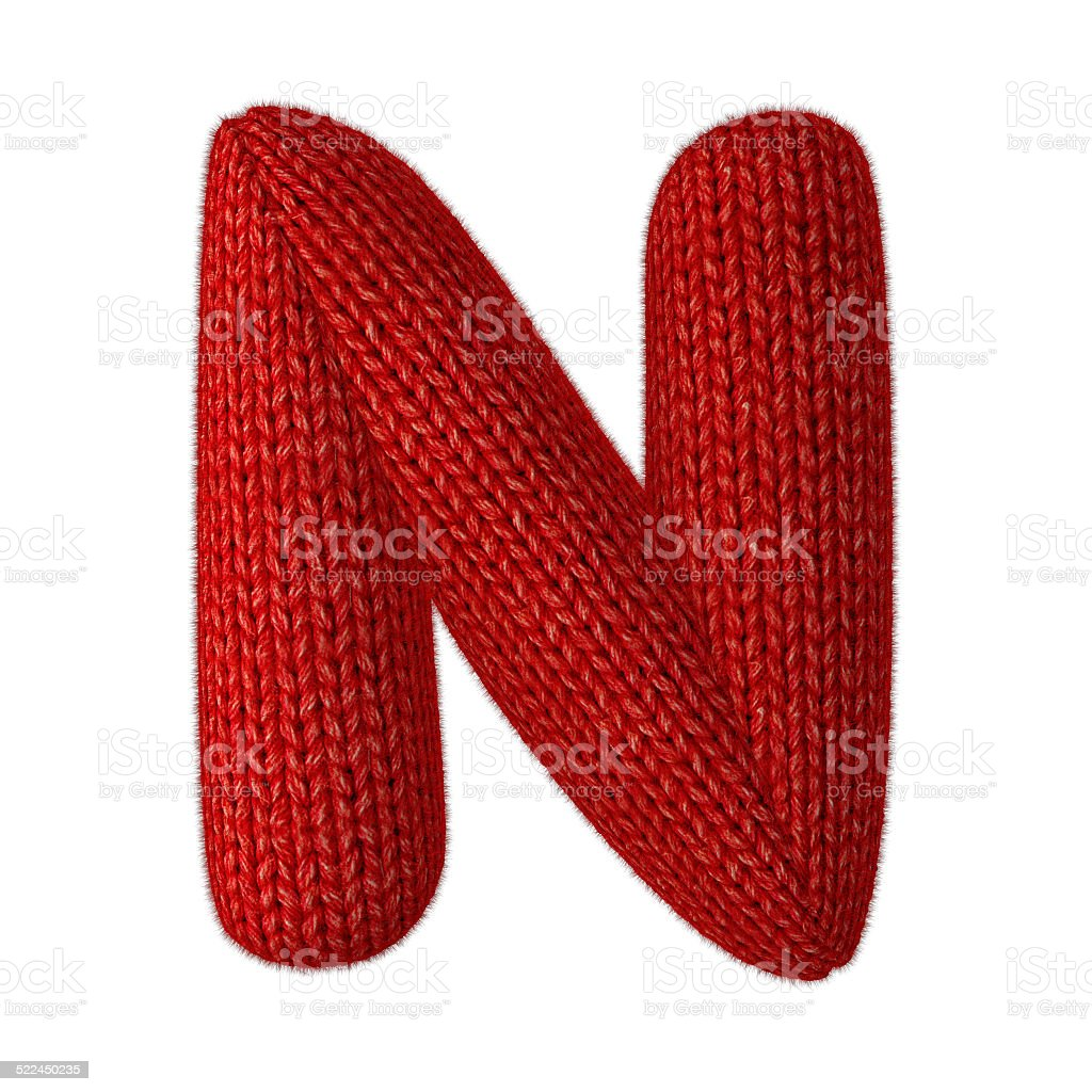 Letter N Made of Wool Knit isolated on White Background stock photo