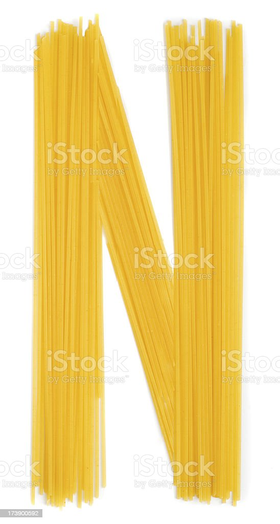 Letter N, noodles, on white background royalty-free stock photo