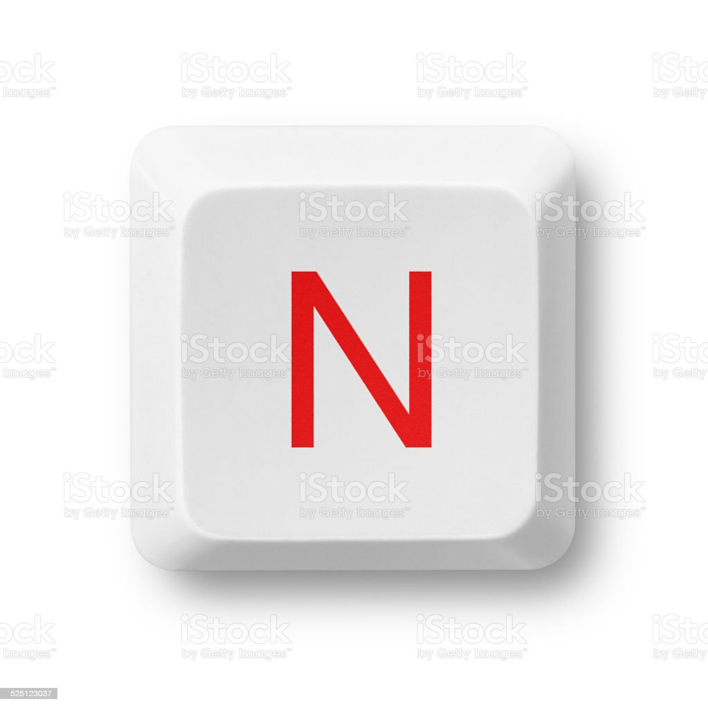 Letter N on a computer key isolated on white stock photo