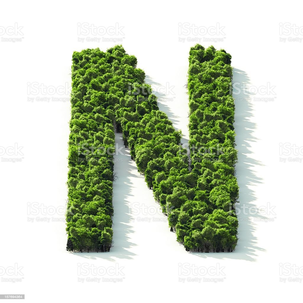 Letter N : Perspective View stock photo