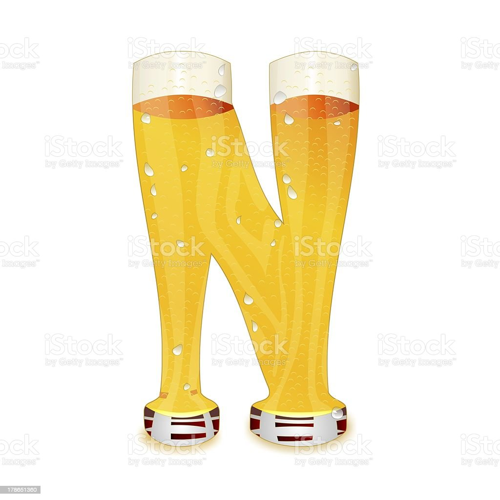 BEER ALPHABET letter N royalty-free stock photo