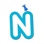 Letter N pinned to a plain white background