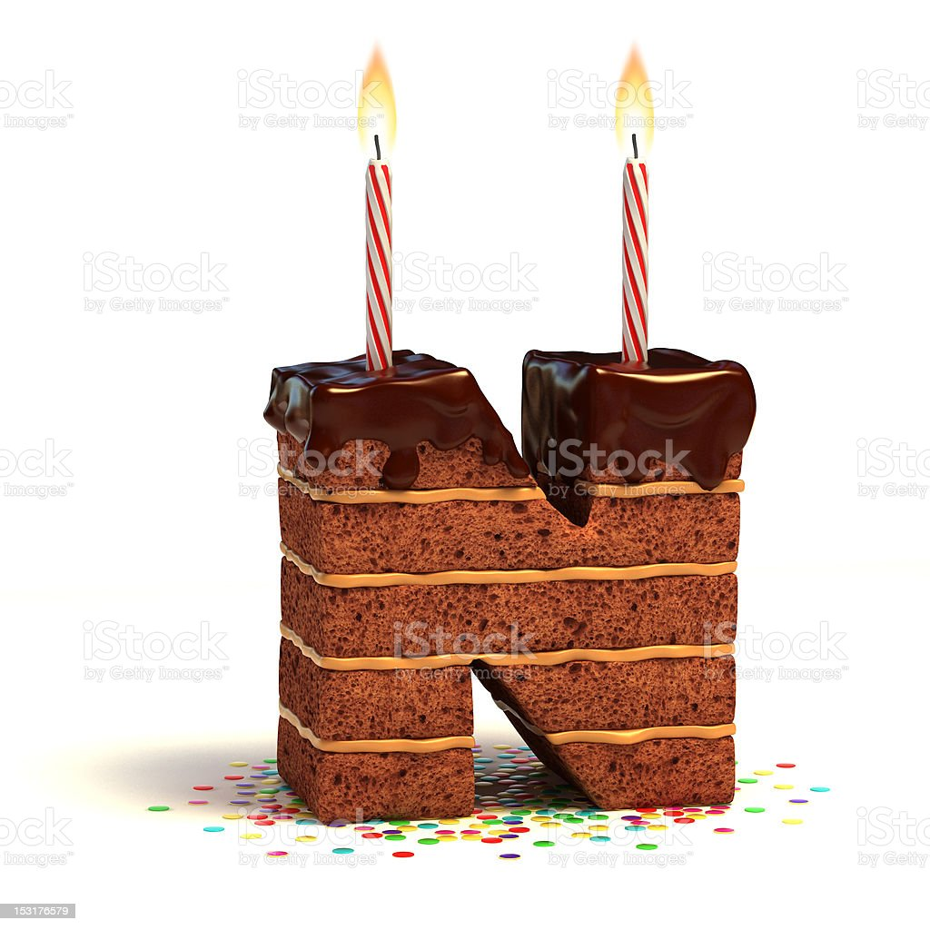 letter N shaped chocolate cake royalty-free stock photo