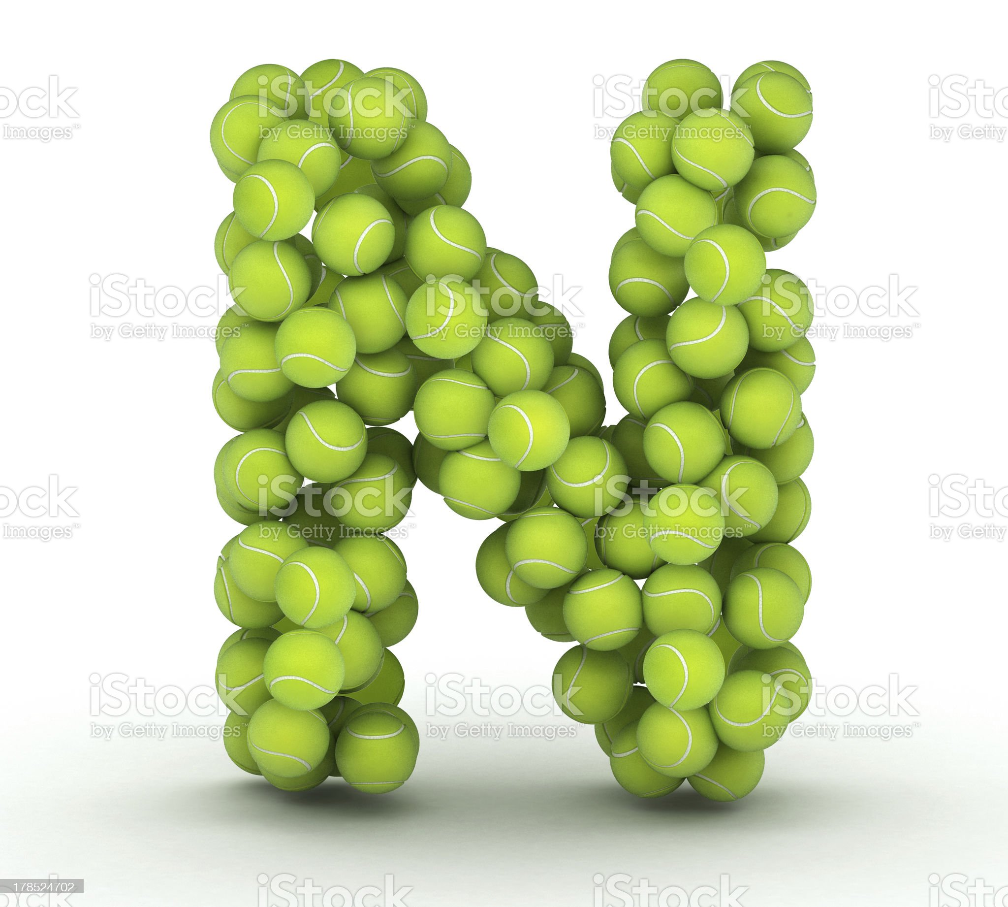 Letter N, tennis balls alphabet royalty-free stock photo
