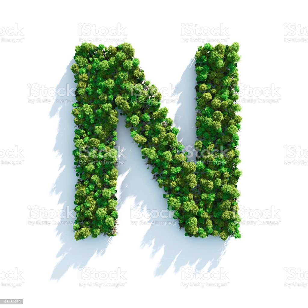 Letter N: Top View stock photo