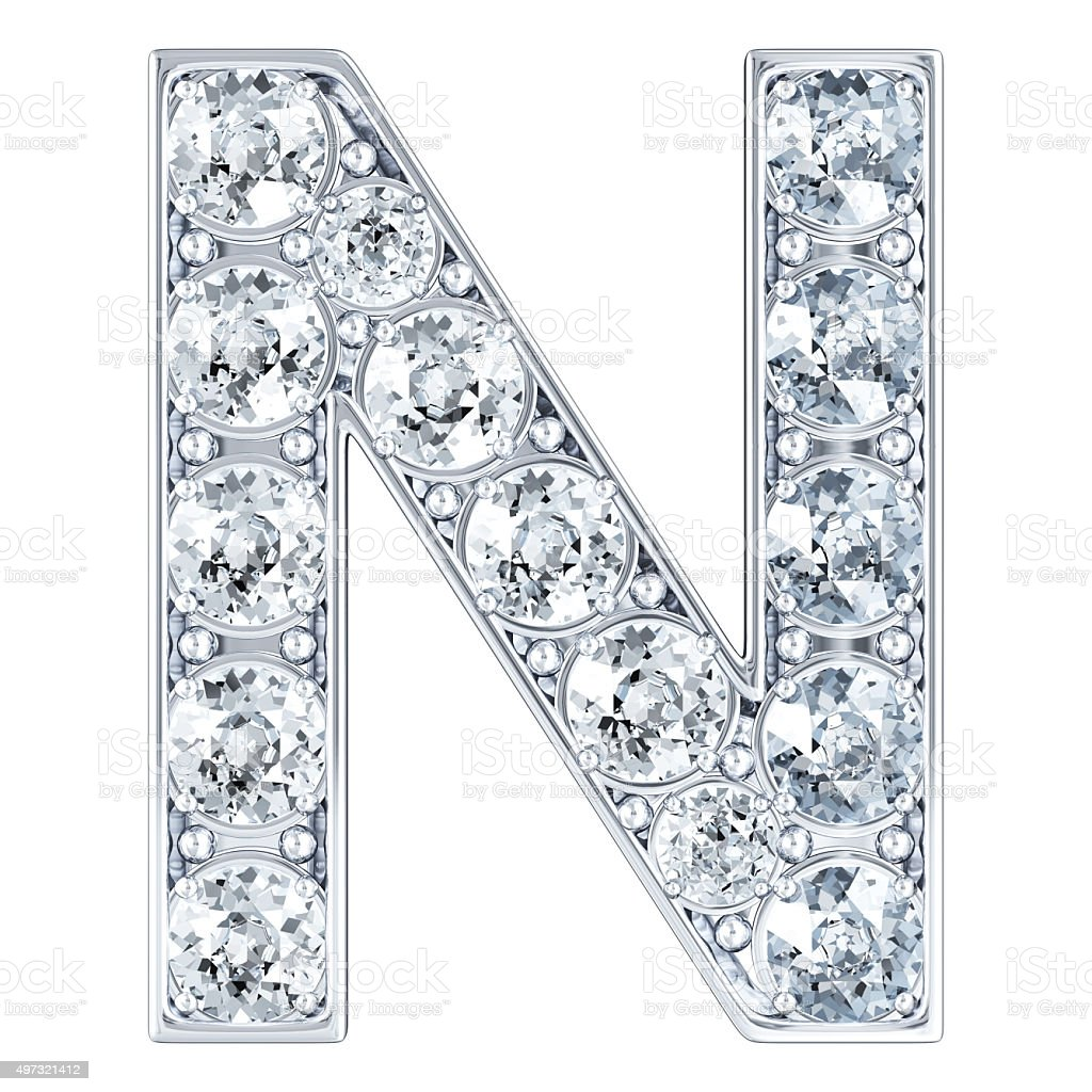 Letter N With Diamonds stock photo