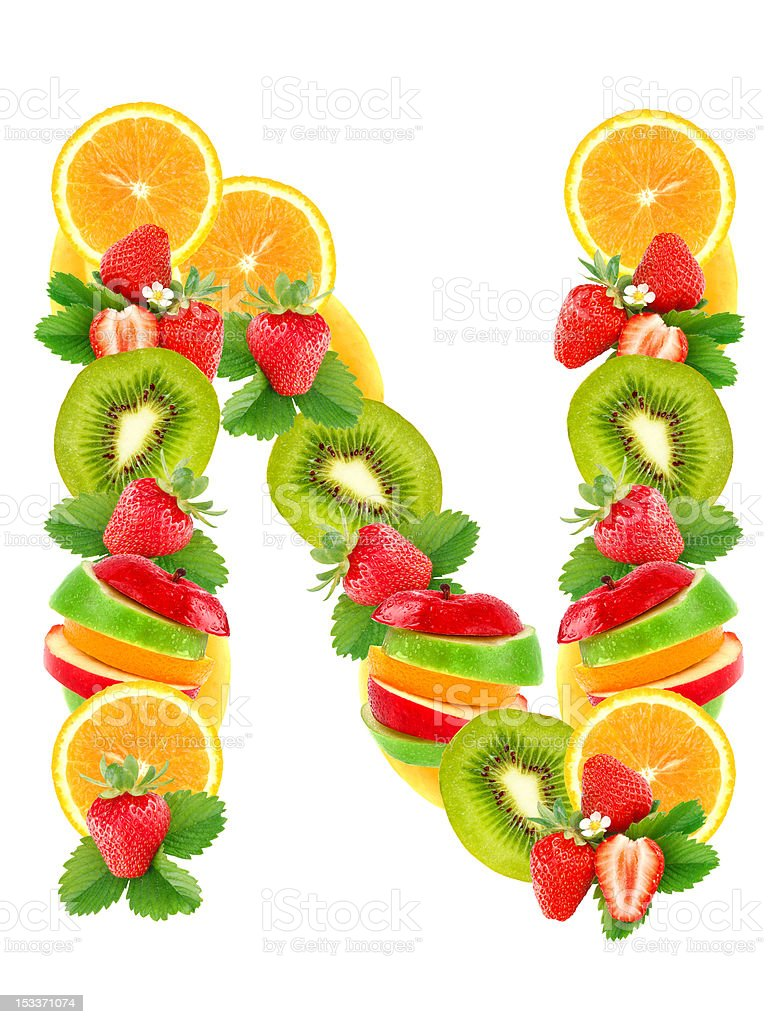 Letter N with fruit royalty-free stock photo