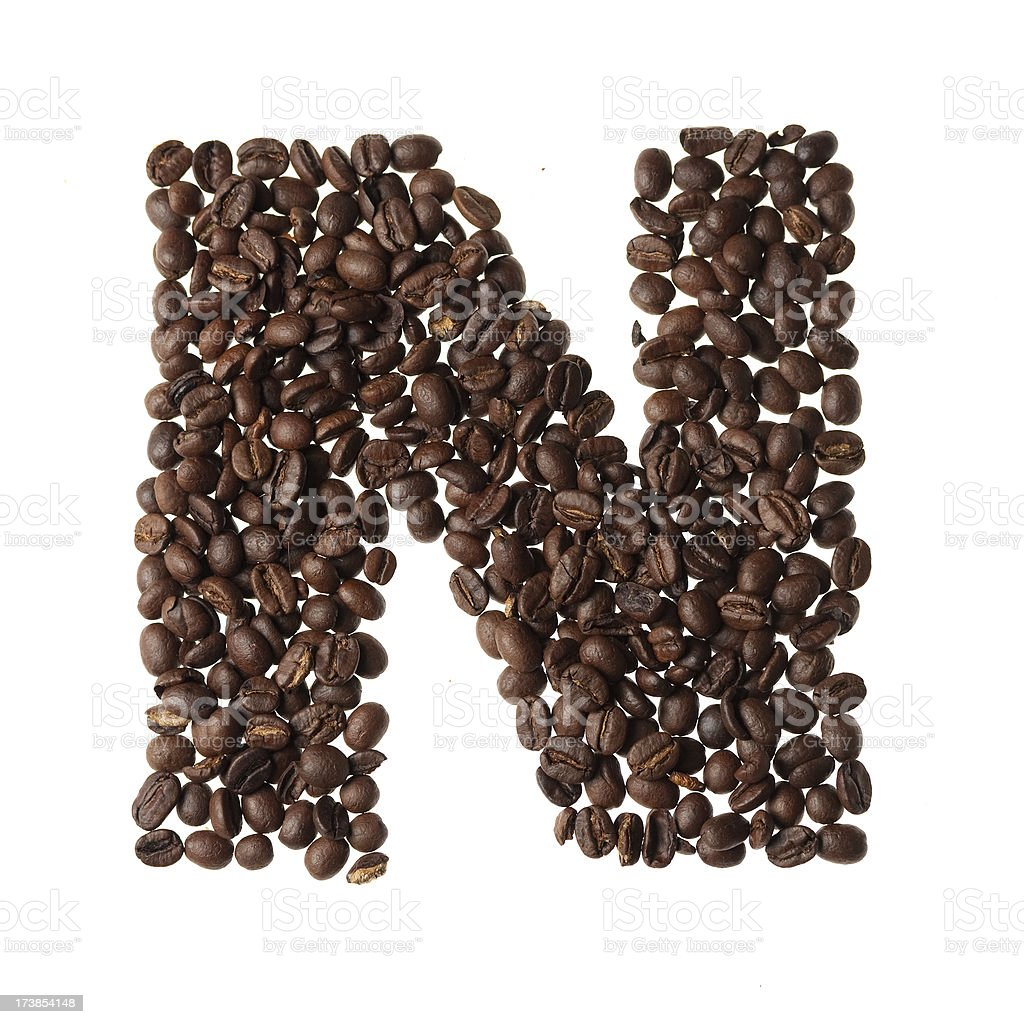Letter N written with coffee royalty-free stock photo
