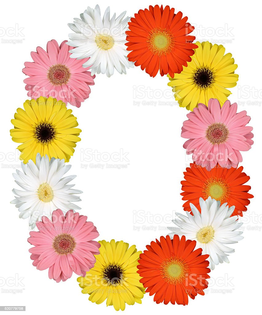 Letter O alphabet from flowers isolated on white stock photo
