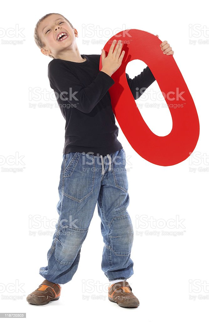 Letter 'O' boy stock photo