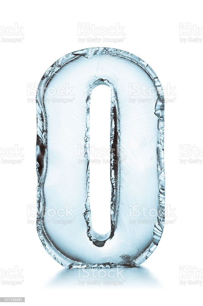 Letter O frozen ice block alphabet stock photo