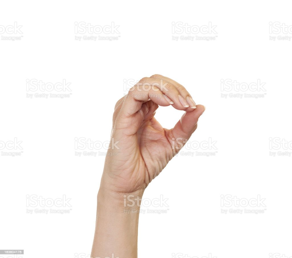 Letter O in American Sign Language stock photo