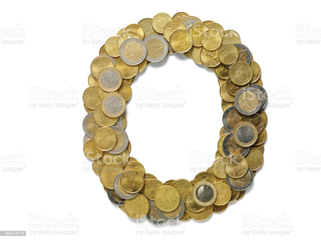 Letter O in Euros royalty-free stock photo