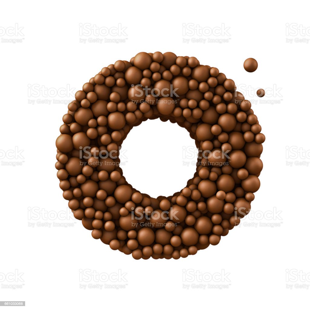 Letter O made of chocolate bubbles, milk chocolate concept, 3d render stock photo