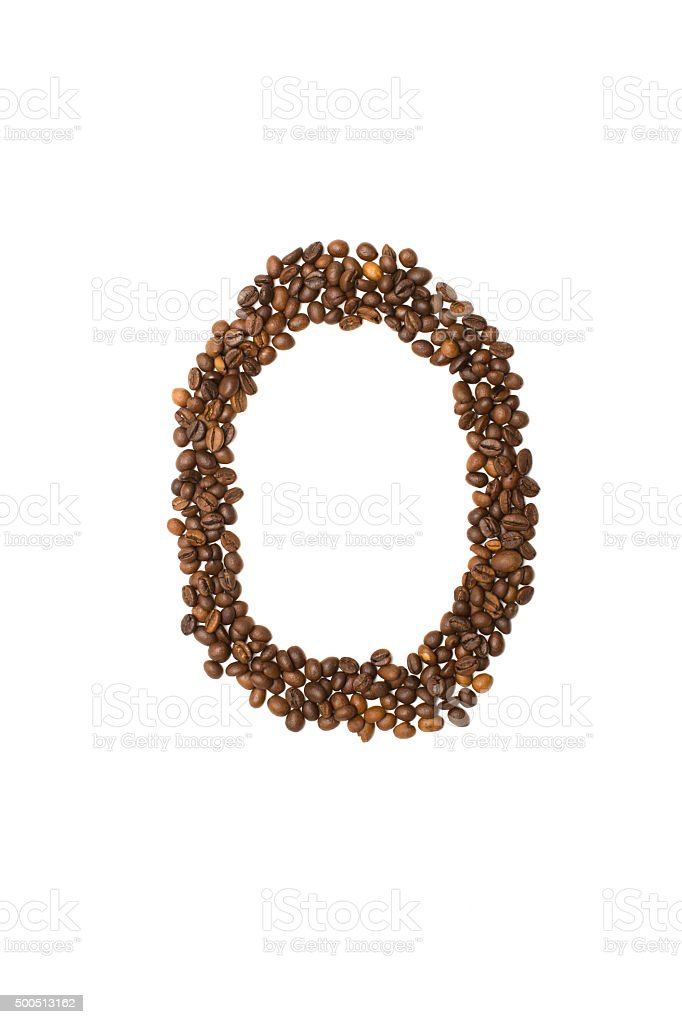 letter O of coffee beans stock photo