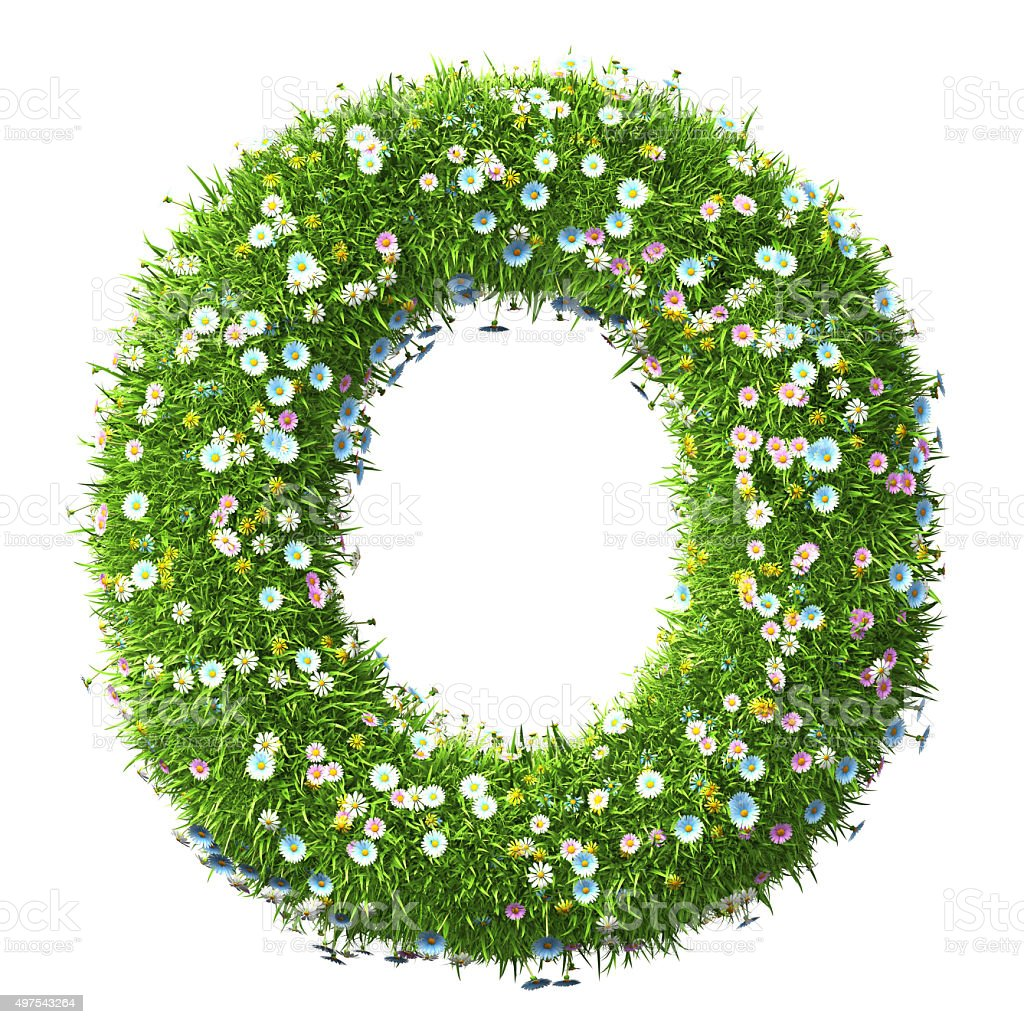 Letter O Of Grass And Flowers stock photo