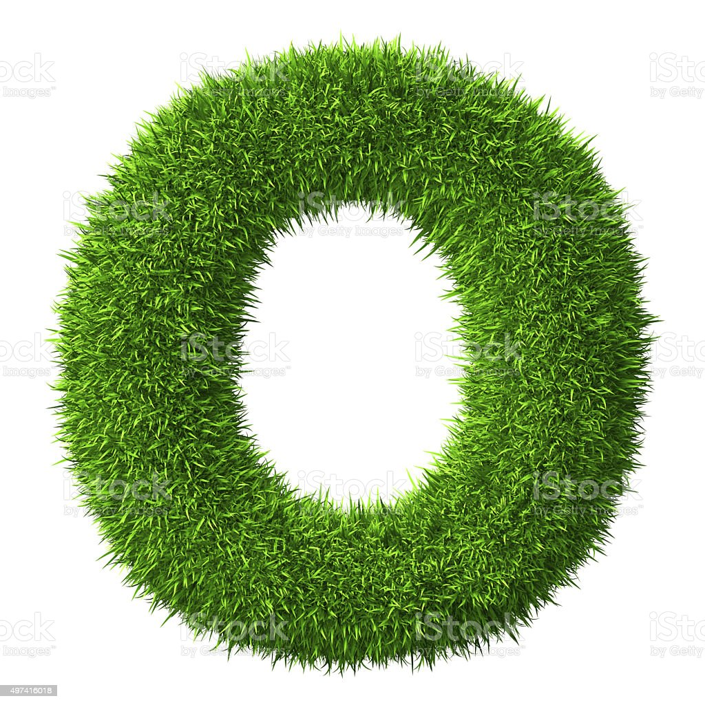 Letter O of grass stock photo