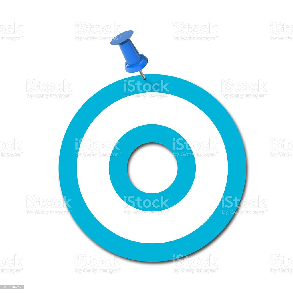 Letter O pinned to a plain white background stock photo