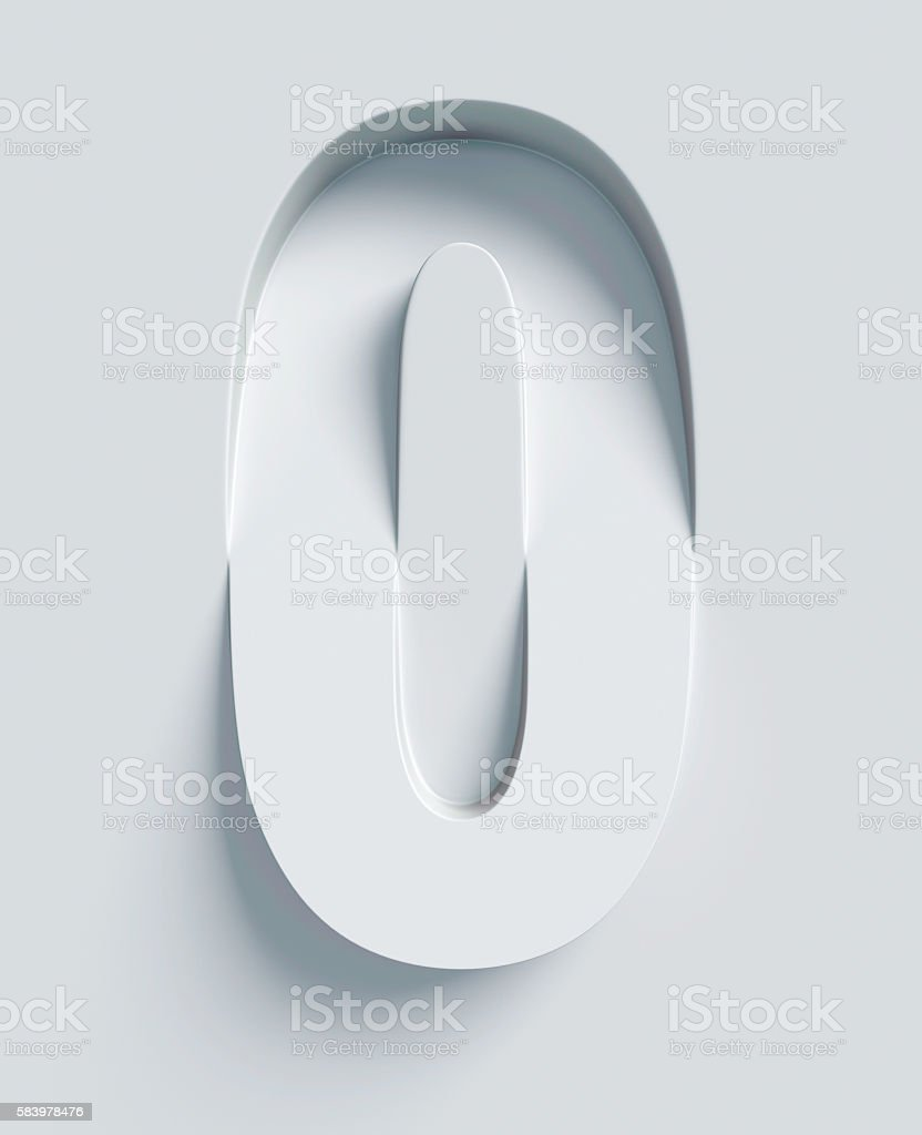 Letter O slanted 3d font engraved and extruded from surface stock photo