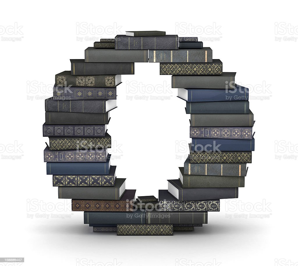 Letter O, stack of books royalty-free stock photo