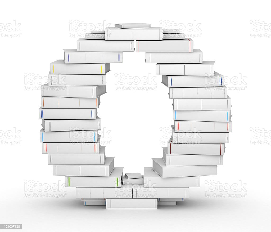 Letter O, stacked from blank books royalty-free stock photo