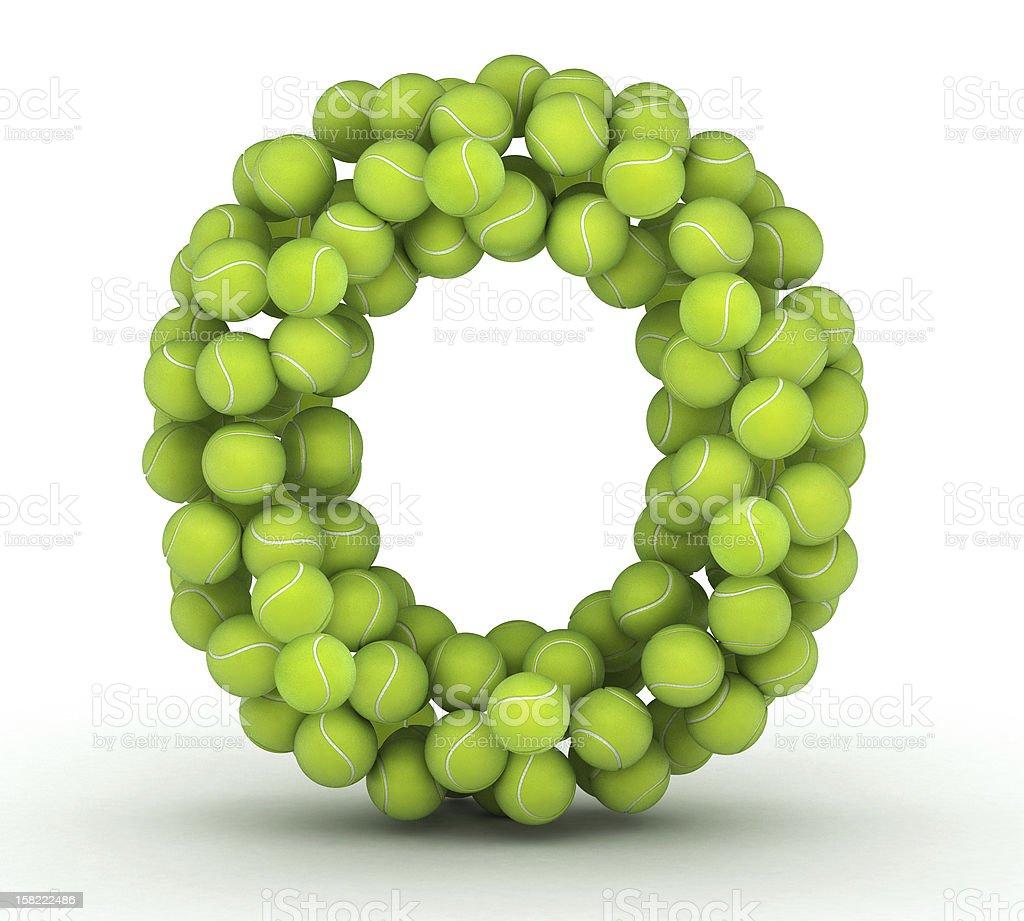 Letter O, tennis balls alphabet royalty-free stock photo