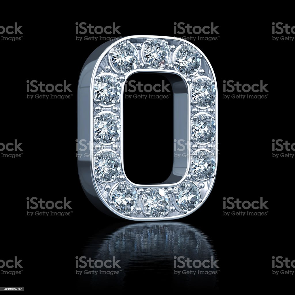 Letter O With Diamonds stock photo