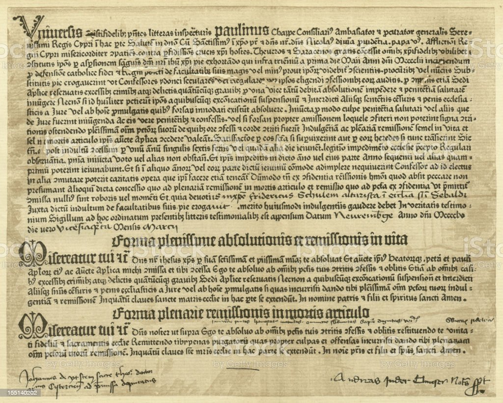 Letter of indulgence (1455), printed by Gutenberg, lithograph, published 1881 royalty-free stock photo