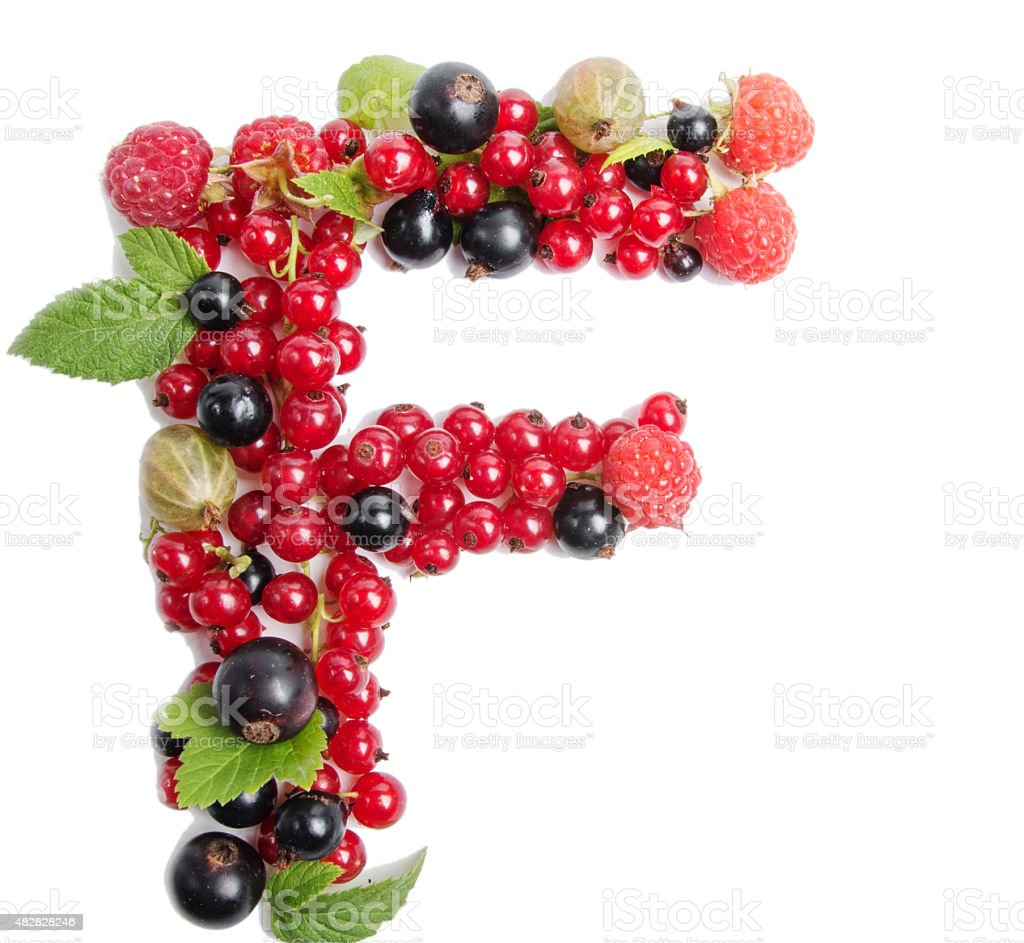 letter of juicy fruit F stock photo
