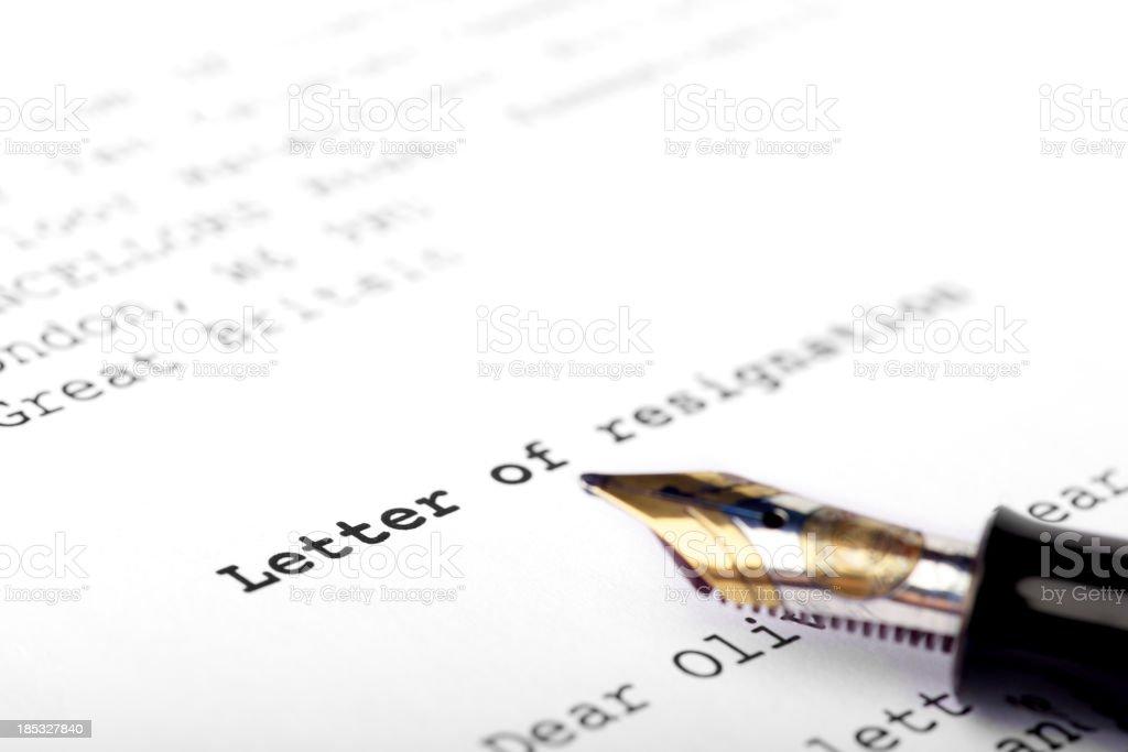 Letter of resignation stock photo