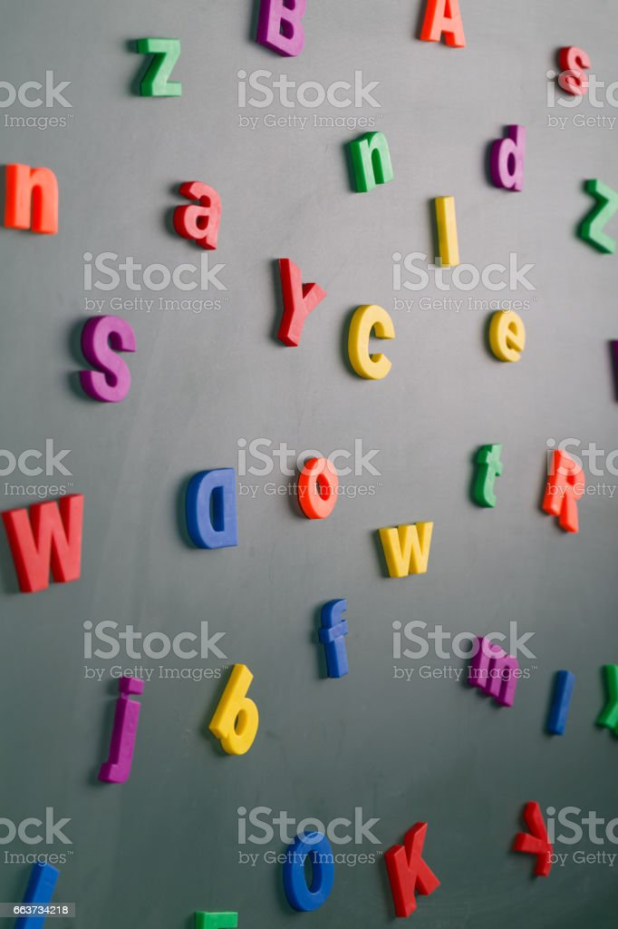 letter on blackboard stock photo