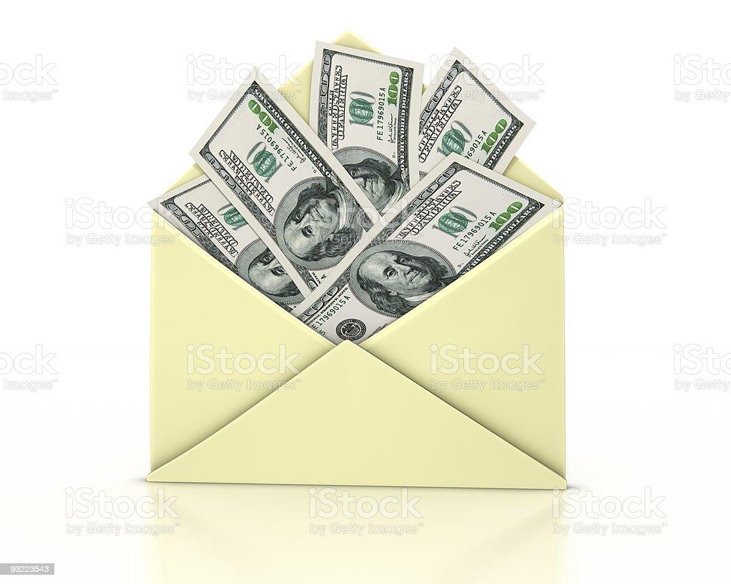 Letter open money stock photo
