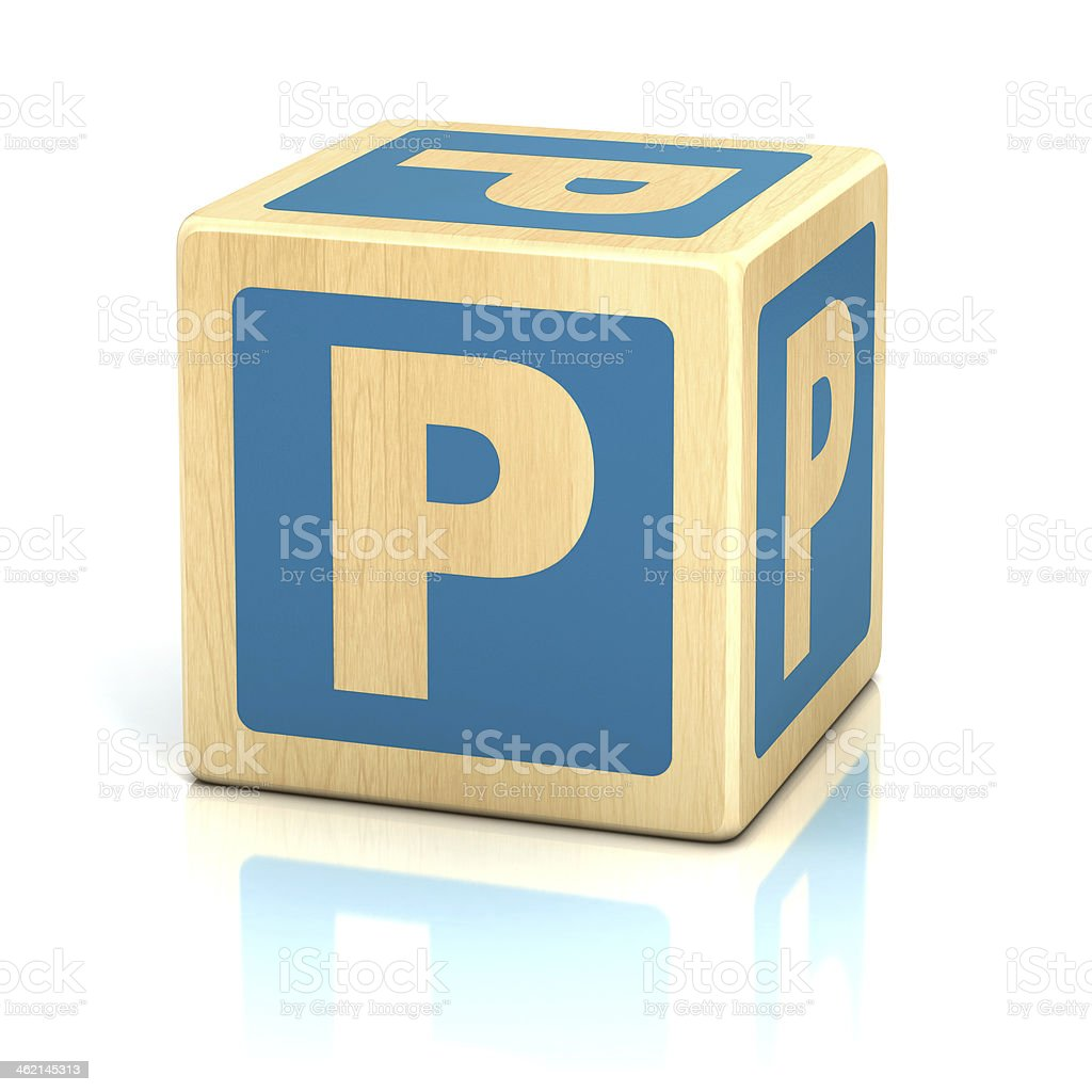 letter P alphabet cubes font stock photo
