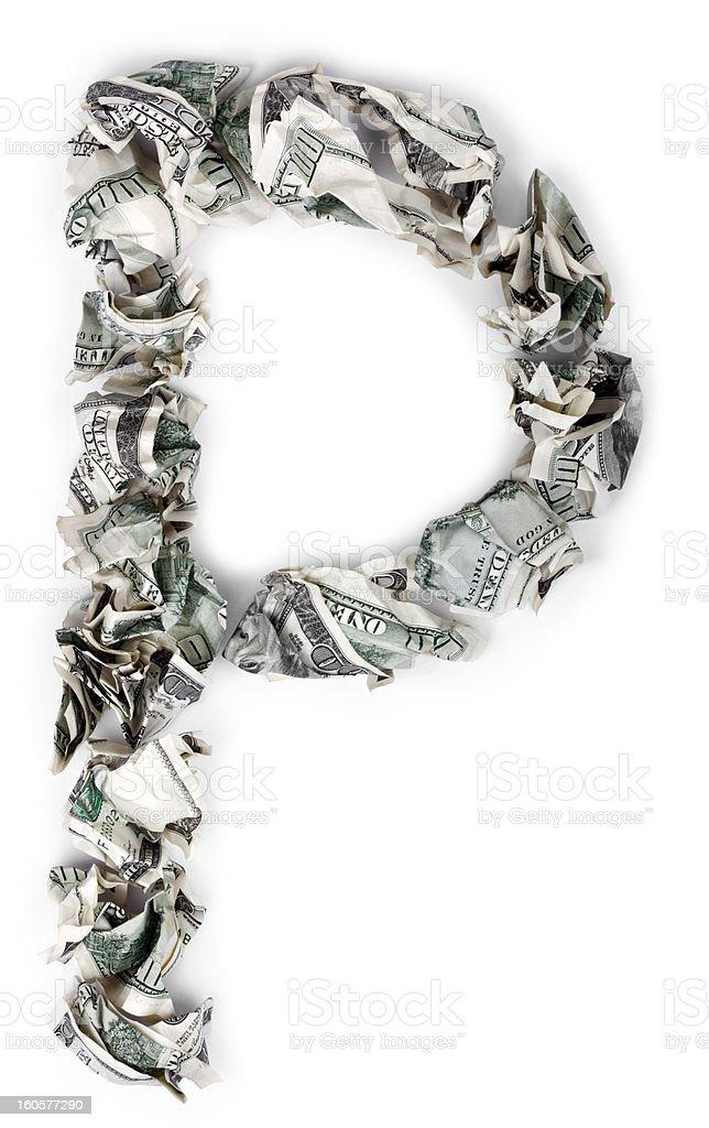 Letter P - Crimped 100$ Bills stock photo