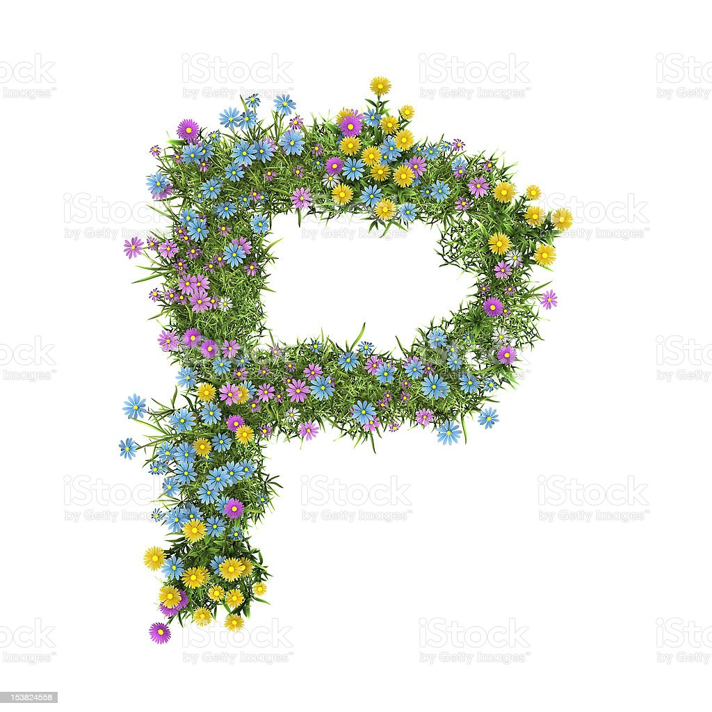 Letter P, flower alphabet isolated on white royalty-free stock photo