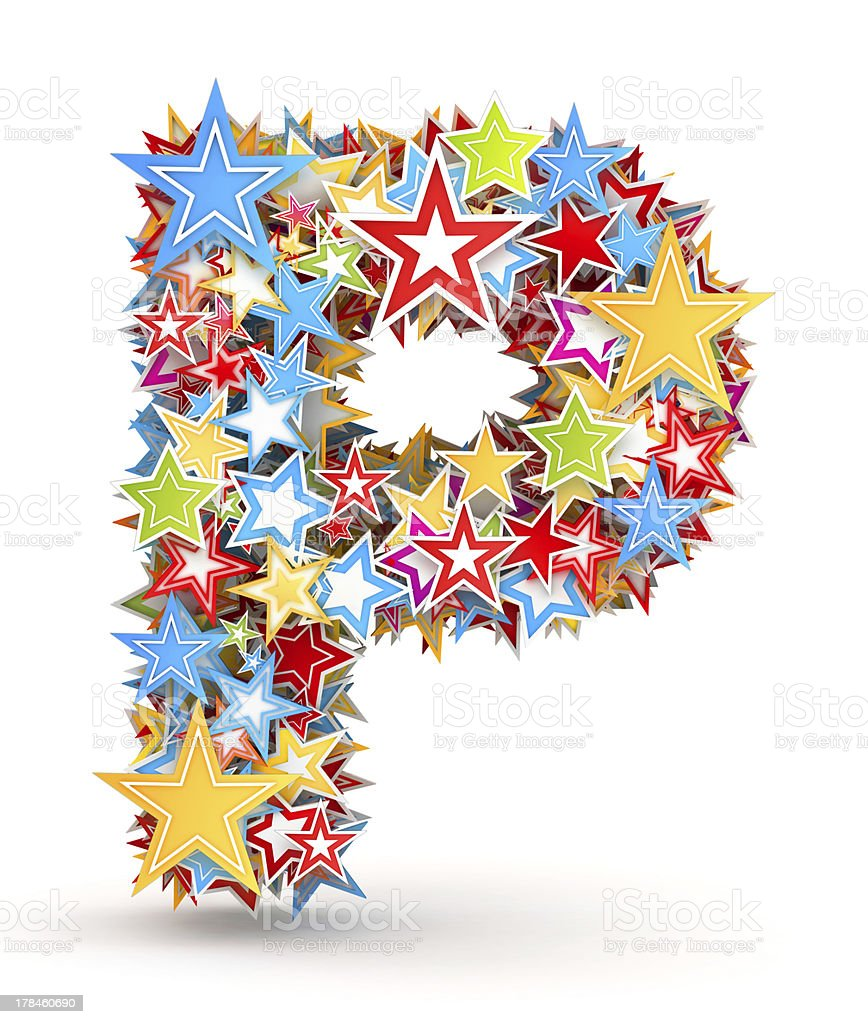 Letter P from colored stars royalty-free stock photo