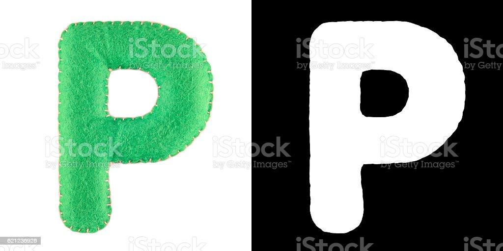 Letter P from felt stock photo