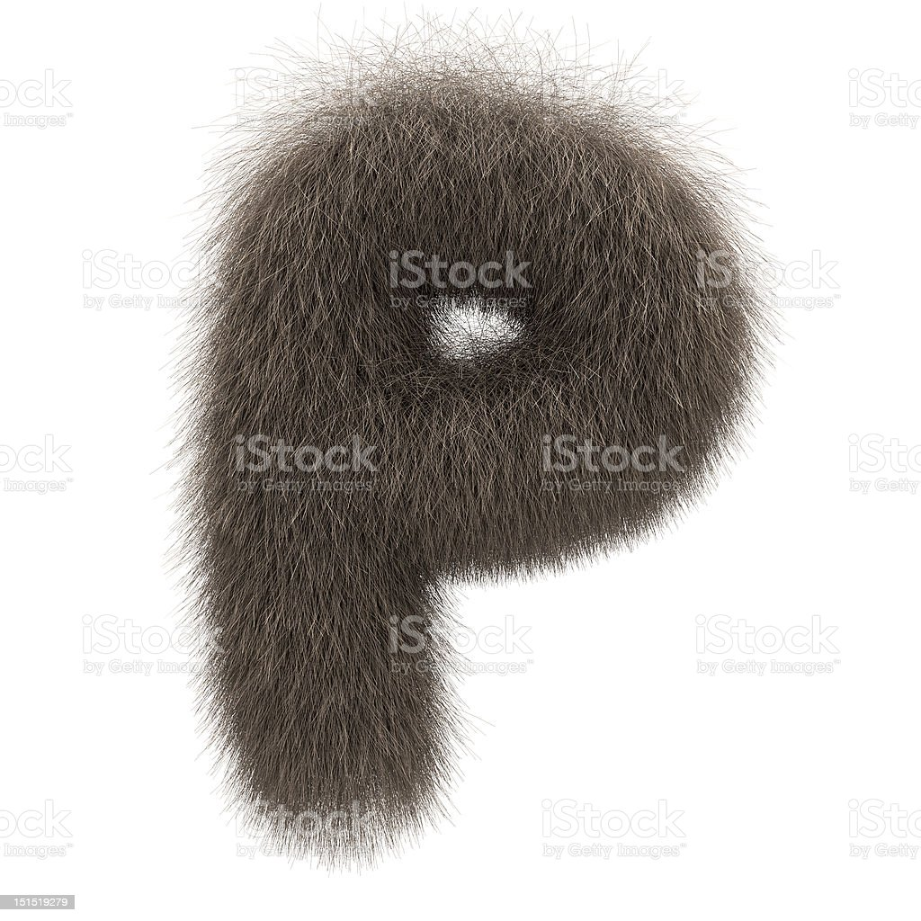 Letter P from fur alphabet stock photo