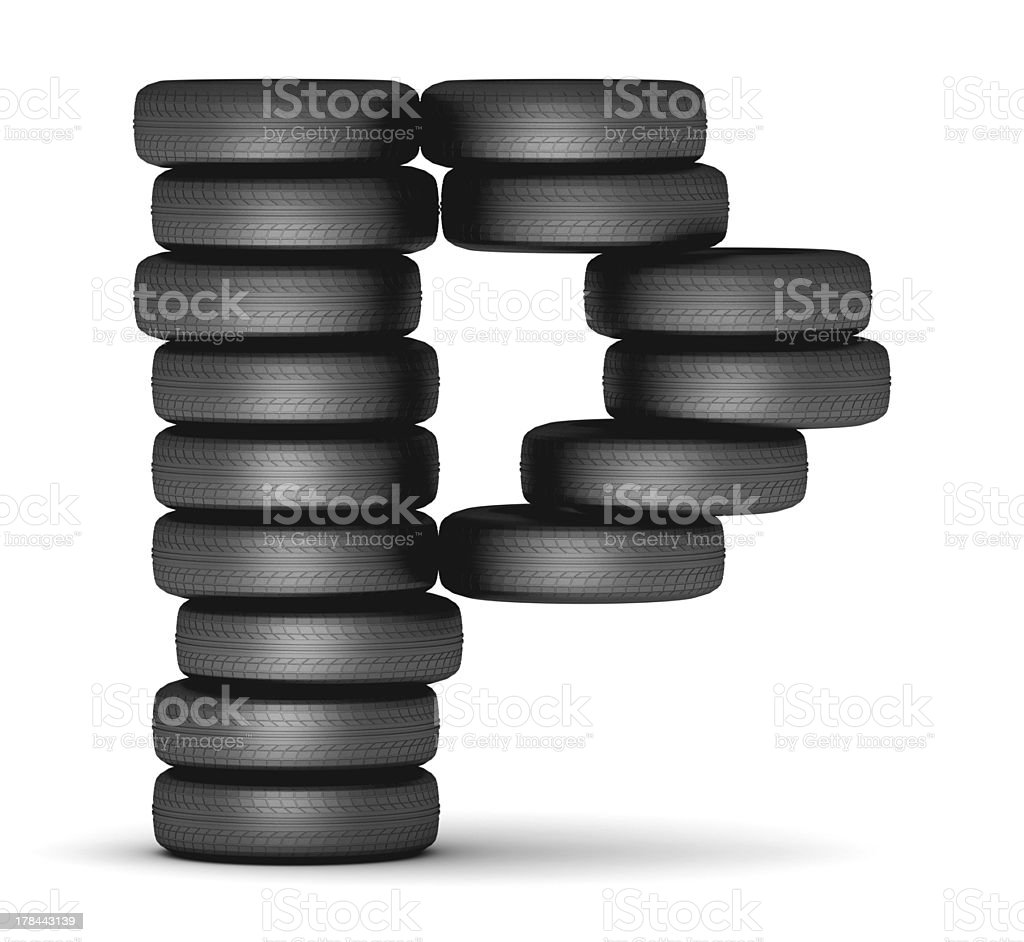 Letter P from stacked tire royalty-free stock photo
